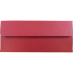 "JAM Paper® Metallic Business Envelopes With Gummed Closure, #10, 4 1/8"" x 9 1/2"", Jupiter Red Stardream, Pack Of 25"