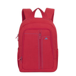 "Rivacase 7560 Canvas Backpack With 15"" Laptop Pocket, Red"