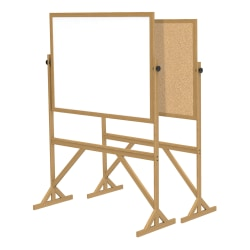 """Ghent 2-Sided Cork Bulletin And Dry-Erase Whiteboard, 72 1/8"""" x 53 1/4"""", Brown Wood Frame"""