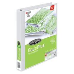 """Wilson Jones® CleanView™ Poly 3-Ring Binder, 1"""" Round Rings, White"""