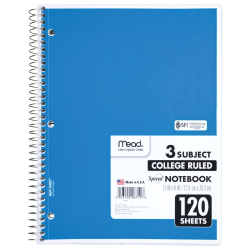 "Mead 3 - Subject Wirebound College Ruled Notebooks - Letter - 120 Sheets - Spiral - 8 1/2"" x 11"" - White Paper - Back Board - 1Each"