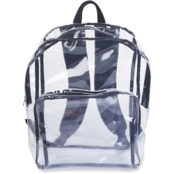 """Tatco Carrying Case (Backpack) Notebook - Clear, Black - Vinyl - Shoulder Strap - 1"""" Height x 14.3"""" Width x 17.5"""" Depth"""