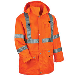 Ergodyne GloWear® 8365 Type R Class 3 High-Visibility Rain Jacket, 4X, Orange