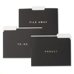 """Gartner™ Studios To-Do Soft-Touch File Folders, Letter Size, 8-3/4"""" x 11-3/4"""", Black/Gold, Pack Of 6 Folders"""