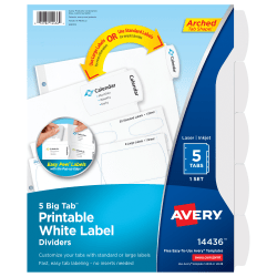 "Avery® Big Tab™ Printable Label Dividers, Easy Peel®, 8 1/2"" x 11"", FSC Certified, White, Set Of 5-Tabs"