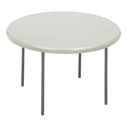 """Iceberg Indestruct-Table Too Round Folding Table, 29""""H x 48""""D, Platinum/Gray"""