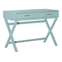 "Linon Frances 42""W Desk With 2 Drawers, Turquoise"
