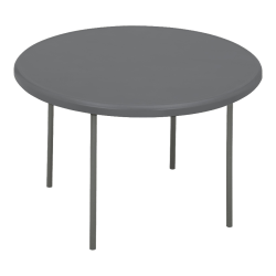 "Iceberg Indestruct-Table Too Round Folding Table, 29""H x 48""D, Charcoal/Gray"