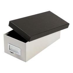 "Oxford® Index Card Storage Box, 3"" x 5"", Marble White/Black"