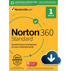 Norton™ 360 Standard, For 1 Device, 1 Year Subscription, Windows®, Download