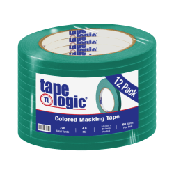 "Tape Logic® Color Masking Tape, 3"" Core, 0.25"" x 180', Dark Green, Case Of 12"