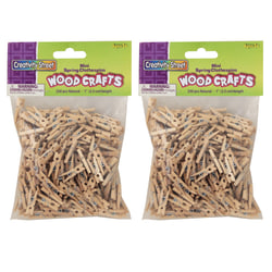 """Creativity Street Mini Spring Clothespins, Natural Wood, 1"""", 250 Clothespins Per Pack, Pack Of 2 Packs"""