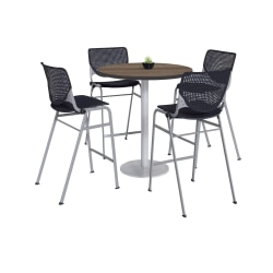 "KFI Studios KOOL Round Pedestal Table With 4 Stacking Chairs, 41""H x 36""D, Studio Teak/Black"