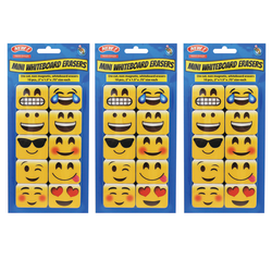 Ashley Productions Non-Magnetic Mini Whiteboard Erasers, Emojis, Pack of 30