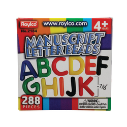 Roylco® Uppercase Manuscript Letter Beads, Assorted Colors, Box Of 288
