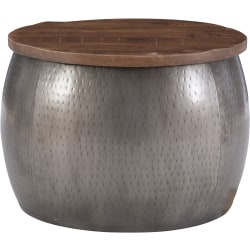 """Powell Angus Drum Side Table With Storage, 16""""H x 22-1/2""""W x 22-1/2""""D, Silver/Brown"""