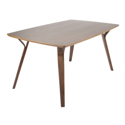 "LumiSource Folia Dining Table, 30-3/4""H x 38""W x 63-1/4""D, Walnut"