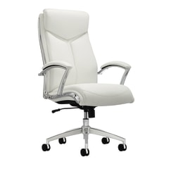Realspace® Modern Comfort Verismo Bonded Leather Executive High-Back Chair, White/Chrome