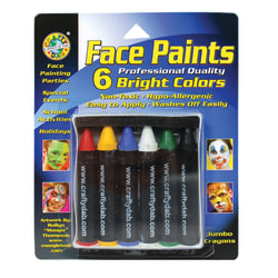 Crafty Dab® Jumbo Crayon Face Paints, Bright Colors, 6 Per Pack, 6 Packs