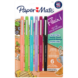 Paper Mate® Flair Scented Pens, Medium Point, 0.7 mm, Assorted Barrel, Assorted Ink, Pack Of 6 Pens