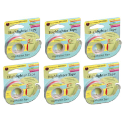 """Lee Products Removable Highlighter Tape, 0.5"""" x 20', Pink, Pack Of 6"""