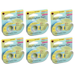 """Lee Products Removable Highlighter Tape, 0.5"""" x 20', Blue, Pack Of 6"""