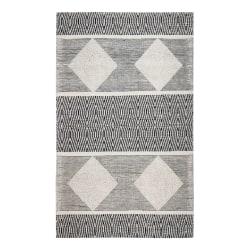 Anji Mountain Oboto Hand-Loomed Tribal Rug, 8' x 10', Black/White