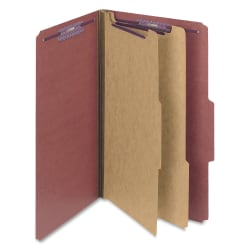 "Smead® Classification Folders, Pressboard With SafeSHIELD® Fasteners, 2 Dividers, 2"" Expansion, Legal Size, 100% Recycled, Red, Box Of 10"