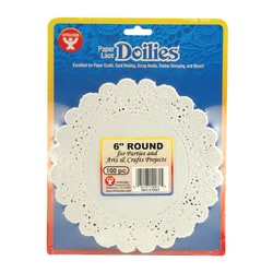 "Hygloss Round Doilies, 6"", White, 100 Doilies Per Pack, Set Of 6 Packs"
