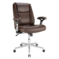 Realspace® Densey Bonded Leather  Mid-Back Manager's Chair, Brown/Black/Silver