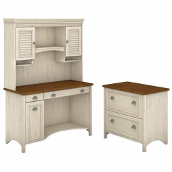 Bush Furniture Fairview Computer Desk With Hutch And 2 Drawer Lateral File Cabinet, Antique White/Tea Maple, Standard Delivery
