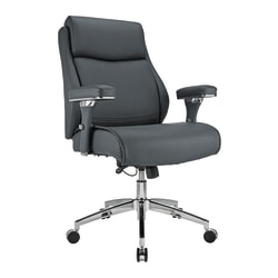 Realspace® Modern Comfort Keera Bonded Leather Mid-Back Manager's Chair, Gray/Chrome