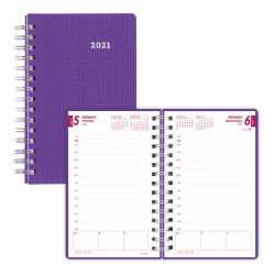 """Brownline® Daily Planner, 8"""" x 5"""", 50% Recycled, FSC® Certified, Purple, January to December 2021"""