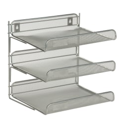 "Honey-Can-Do 3-Tier Steel Mesh Desk Organizer, 12 1/2""H x 10 3/4""W x 13 1/4""D, Silver"