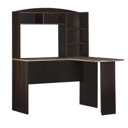 Ameriwood™ Home Sutton L-Desk With Hutch, Espresso/Weathered Oak