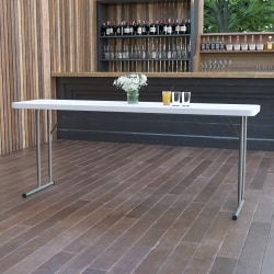 """Flash Furniture Plastic Folding Training Table, 29""""H x 18""""W x 72""""D, Granite White"""