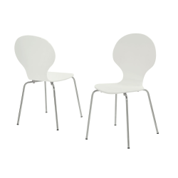 Monarch Specialties Ella Dining Chairs, White/Chrome, Set Of 4 Chairs