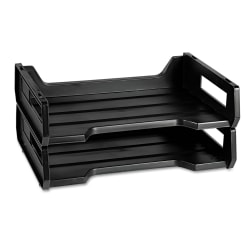 Desk Trays, Letter-Size, Black, Pack Of 2 (AbilityOne 7520-01-094-4307)