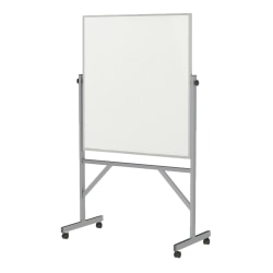 """Ghent Reversible Magnetic Whiteboard, 36"""" x 48"""", Silver Aluminum Frame"""