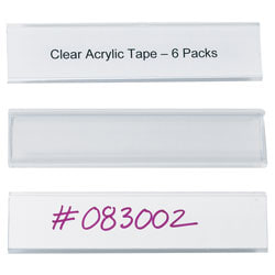 """Wire-Rac™ Snap-On Label Holders, 1 5/16"""" x 6"""", Clear, Box Of 25"""
