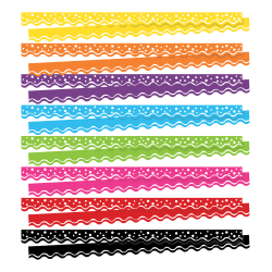 """Barker Creek Happy Double-Sided Scalloped Borders, 2-1/4"""" x 36"""", 13 Strips Per Pack, Set Of 8 Packs"""