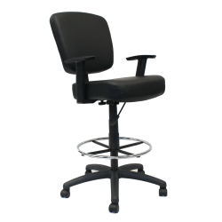 Boss Office Products Oversized Drafting Stool With Arms, Black