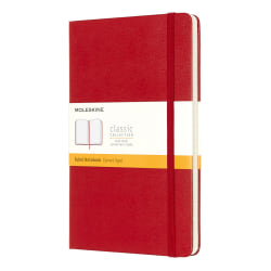 "Moleskine Classic Hard Cover Notebook, 5"" x 8-1/4"", Ruled, 240 Pages (120 Sheets), Red"