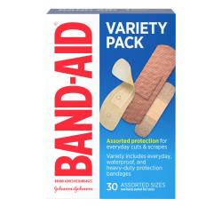 BAND-AID® Brand Adhesive Bandages, Variety Pack, Box of 30