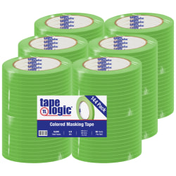 "Tape Logic® Color Masking Tape, 3"" Core, 0.25"" x 180', Light Green, Case Of 144"
