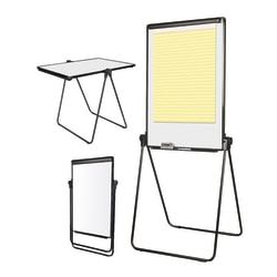 "Office Depot® Brand Convertible Table/Footbar Non-Magnetic Dry-Erase Whiteboard Presentation Easel, 67"" x 30 1/2"", Metal Frame With Black Finish"