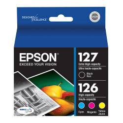 Epson® 127/126 DuraBrite® High-Yield Black/Cyan/Magenta/Yellow Ink Cartridges, Pack Of 4, T127120-BCS