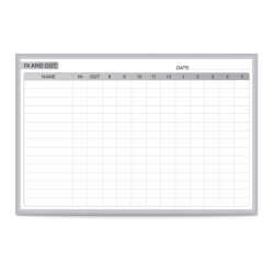 """Ghent Manufacturing In/Out Magnetic Dry-Erase Whiteboard, 48"""" x 72"""", Silver Aluminum Frame"""