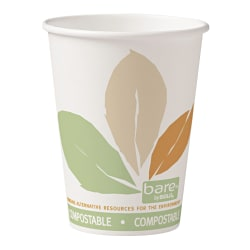 Dart® Bare® Eco-Forward® PLA Paper Hot Cups, 12 Oz, Leaf, 50 Cups Per Bag, Carton Of 20 Bags