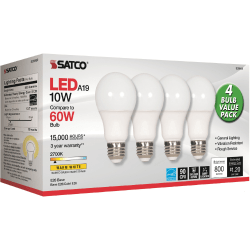 Satco 10W A19 LED 2700K Frosted Bulbs - 10 W - 60 W Incandescent Equivalent Wattage - 120 V AC - 800 lm - A19 Size - Warm White Light Color - E26 Base - 15000 Hour - 4400.3°F (2426.8°C) Color Temperature - 93 CRI - 220° Beam Angle - 4 / Pack